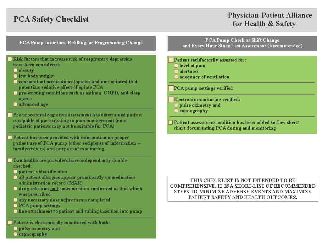 PCA Safety Checklist