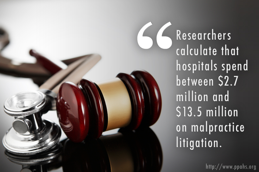 Researchers calculate that hospitals spend between $2.7 million and $13.5 million on malpractice litigation.