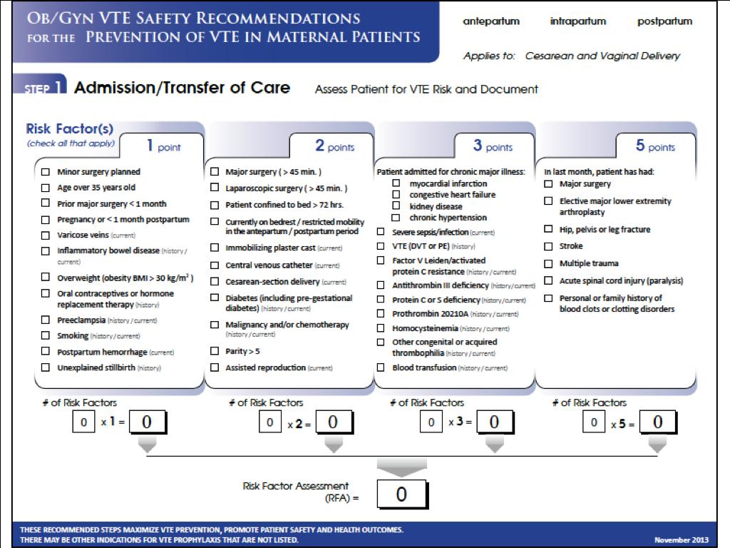 OB VTE Safety Recommendations