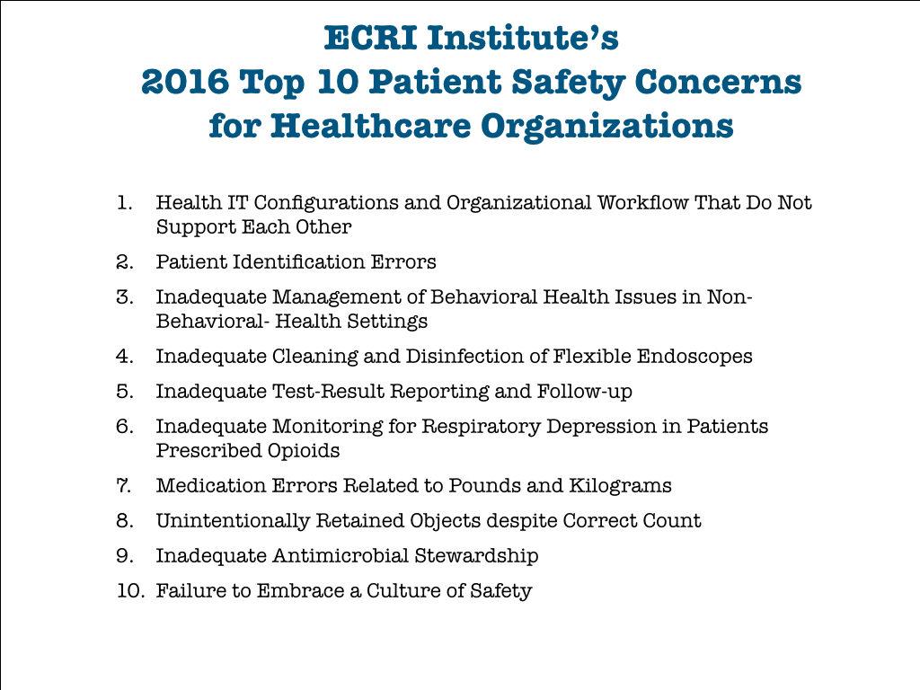ECRI's Top 10 Patient Safety Concerns