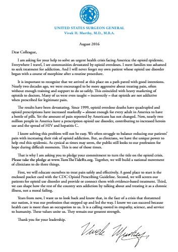 Surgeon General Opioid Letter
