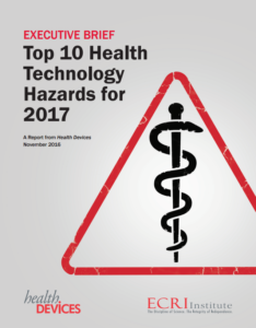 ECRI Institute 2017 Top-10 Health Technology Hazards report cover