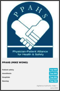 Agilience ranks the Physician-Patient Alliance for Health & Safety as a top 100 patient safety authority